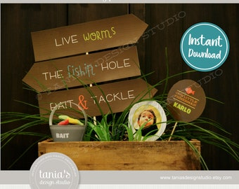 Gone Fishing - The Big One - Directional Signs - Birthday - Father's Day - Baby Shower - Instant Download - by Tania's Design Studio