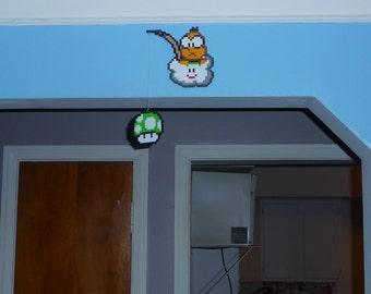 Super Mario Bros. Perler Bead Lakitu and 1up Mushroom on a sting - Wall Hang - 1up mushroom - nintendo