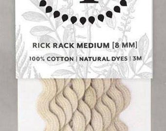 Naturally Dyed 8mm Rick Rack-Light Grey