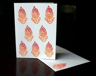 Hand Block Printed Kraft Blank Card with Envelope