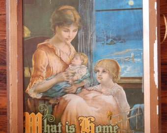 "Vintage ""What is Home without a Mother?"" Framed Print"