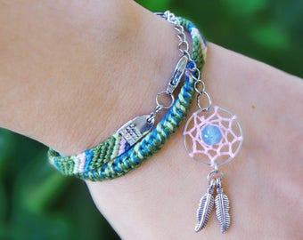 Blue agate dream catcher bracelet, Native american indian tribe, Green gem ethnic jewelry, Gemstone dreamcatcher charm, Tribal cotton wrap