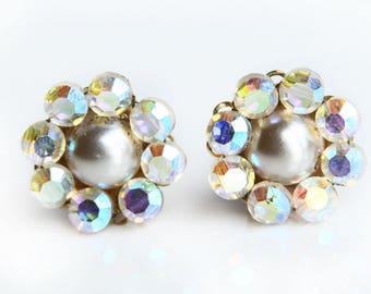 Vintage Marvella Aurora Borealis Rhinestone Earrings ~ Vintage Clip on Earrings ~ Rhinestone Earrings ~ Signed Vintage Costume Jewelry