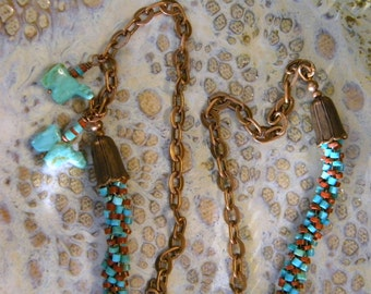 "Turquoise & Pipestone Rondelles Kumihimo Necklace with 2 Turquoise Bear Bears Fetishes Antique Copper Links 29"" of Japanese Braiding"