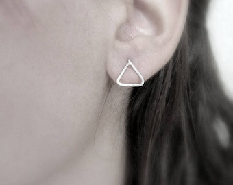 Triangular sterling silver stud earrings, Geometric minimalistic earrings