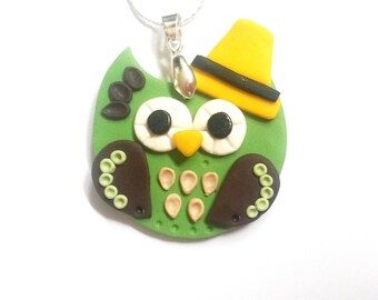 SALE! Owl Hat Necklace Green Owl Necklace ( owl pendant owl jewelry bird necklace owl charm  polymer clay owl charm necklace cute)