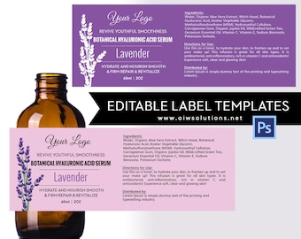 Lavender label template, product label, Skin Care label,  Serums label,Hair  Shampoo label, Conditioner label,Fragrance label template