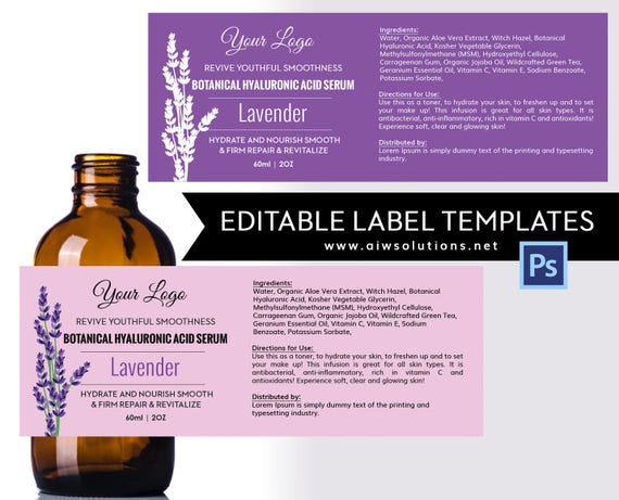 Exceptional Lavender Label Template, Product Label, Skin Care Label, Serums Label,Hair  Shampoo Label, Conditioner Label,Fragrance Label Template