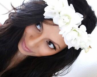 White Floral Crown, White Hair Accessory, Flower Crown