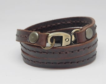 Leather Bracelet Wrap Leather Bracelet with Metal Alloy Clasp Hand Stitched in brown