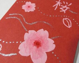 Simple Series Notebook - Painted Paperback - Sakura on Red