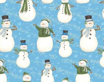 Snow Buddies FLANNEL - Per Yd - Debbie Mumm - Wilmington Prints - Snowmen on Blue