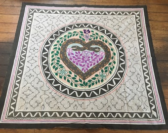 Beautiful 5ft x 5ft Shipibo wall hanging, painted  and embroidered