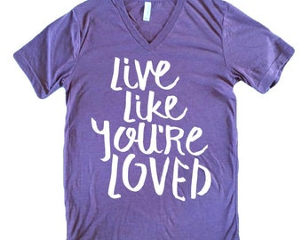 Womens Clothing-Tops and Tees-Religious Tshirts-Womens Shirts-Womens Tops-Womens Shirts-Live Like You're Loved-MommyLaDyClub Mama Soul