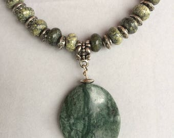 Moss Green Agate Rondelle  and Metal Saucer beaded Necklace with Moss Agate Pendant  FREE SHIPPING
