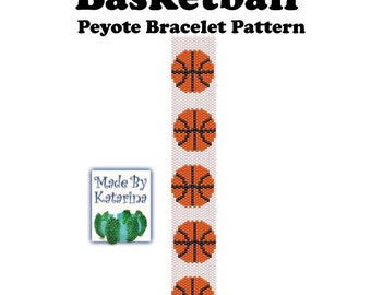 Peyote Bracelet Pattern - Basketball - INSTANT DOWNLOAD PDF - One Drop Even Peyote Pattern - Basketball Pattern - Peyote Basketball