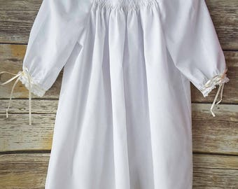 White with Ivory Smocked Monogrammed Baby Day Gown, Coming Home Outfit, Newborn Photo Outfit