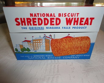 National Biscuit Shredded Wheat Nabisco Recipe Advertising Tin Vintage Kitchen Storage Container