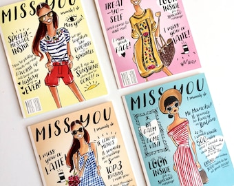 Greeting Cards, Miss you cards, stationary, fashion stationary, custom stationary, stationary set