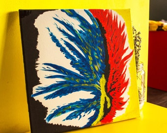 Modern abstract painting print, traditional art, feather fire passion, home office wall decoration, classic print, red blue yellow black