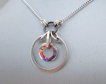 Rainbow Crystal Necklace, Stainless Steel Necklace, Swarovski Crystal Pendant Necklace, Industrial Chic Jewelry, Hardware Jewelry