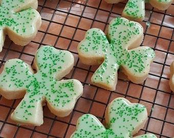 12 Glazed Irish Cream Shamrock Cookies
