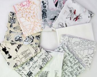 Fabric Destash Sale - Low Volume Text Fat Quarter Fabric Bundle