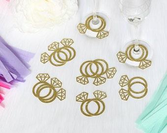 Diamond Ring Wine Glass Tags (Set of 20)   Engagement Party Decor   Bridal Shower Decor   Bachelorette Party   Wine Glass Diamond Rings