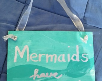 Wooden Mermaid Beacj  Sign Decor+