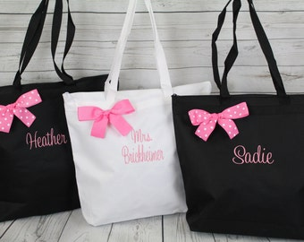 Personalized Zippered Tote Bag Bridesmaid Gift Set of 5- Bridesmaid Gift- Personalized Bridemaid Tote - Wedding Party Gift - Name Tote-