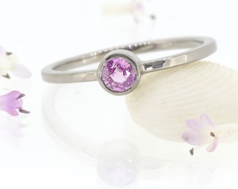 Pink Sapphire Solitaire Ring, Eco-friendly 18k White, Rose or Yellow Gold, Handmade to Size