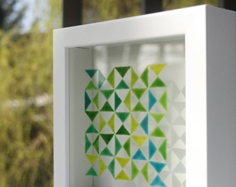 Green Triangles - Original Painting on Glass - Home Decor
