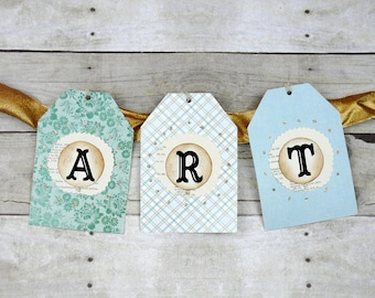 ART banner wall hanging - Big Tag paper home decor sewing craft room