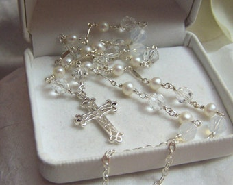 Sterling Cross Necklace Handmade Artisan Wire Wrapped Genuine Freshwater Pearl And Swarovski Crystal
