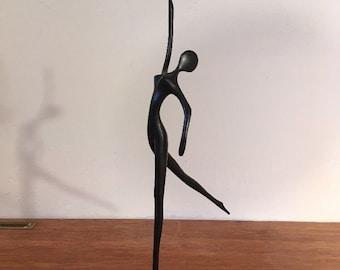 Vintage Bodrul Khalique Bronze Modern Female Dancer Statue w/ Label