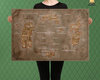 World of Warcraft Inspired,  Vintage World Map, Unofficial Map of Azeroth, Fan Custom Raised Canvas Art Piece