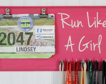 Running Medal Holder Run Like A Girl - Carved Sign - Bib Holder