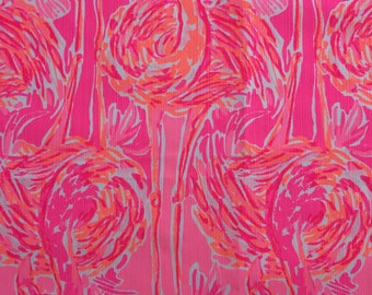 "tiki pink tappin it back dobby cotton fabric square 18""x18"" ~ lilly spring 2017 ~ lilly pulitzer"