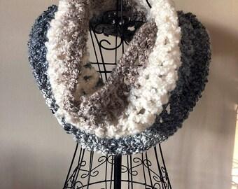Chunky Knit Infinity Cowl, Scarf, Bulky Yarn, Hand Knit, Handmade Knitwear, Homespun Yarn, Large Cowl