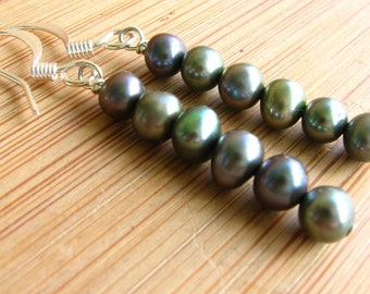 Lola, Stacked Fresh Water Pearl earrings in Green