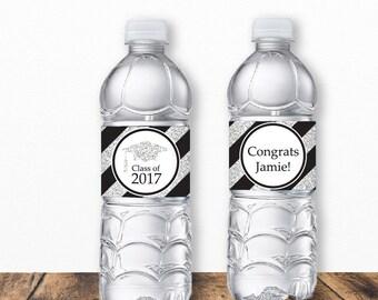 Graduation Water Bottle Labels, Grad Water Bottle Labels, Graduation Labels, Graduation Printables, Open House, Black and Silver Glitter