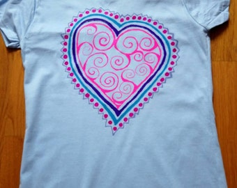 Hand painted, unique, Blue and Pink heart, festival, summer t shirt
