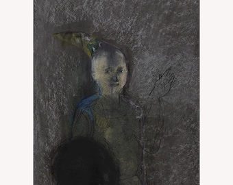 drawing original Portrait night silver man woman pastel art people figurative