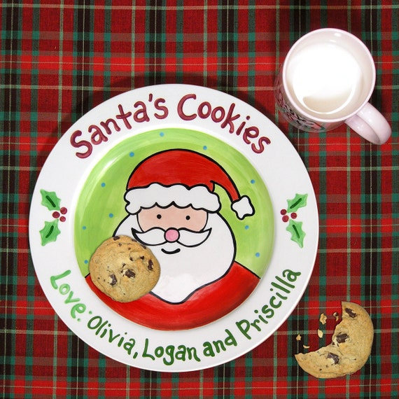 sc 1 st  Etsy & Cookies for Santa Plate Kids Personalized Ceramic Plate