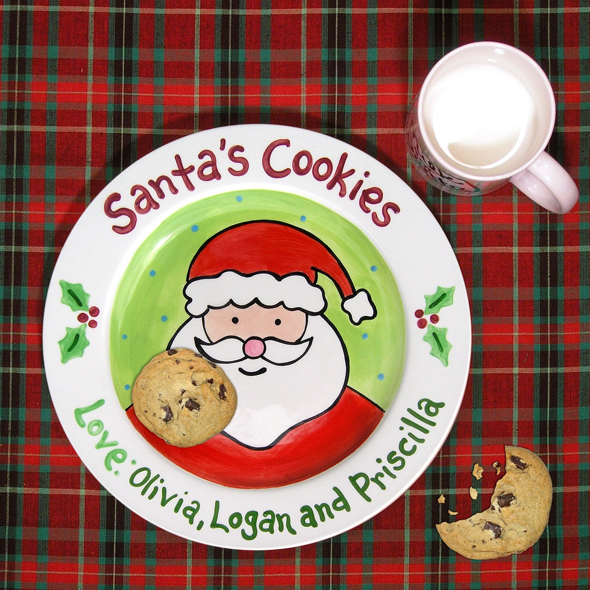 🔎zoom  sc 1 st  Etsy & Cookies for Santa Plate Kids Personalized Ceramic Plate