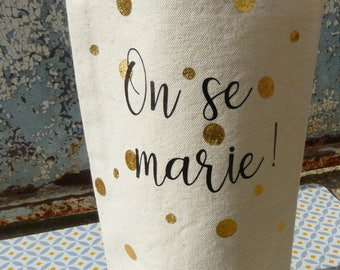 Wine bag marry + confetti / wedding announcement / witness request / custom bottle bag