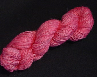 Hand Dyed Alpaca Yarn in Pink - Sport Wt 250 yds