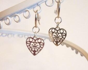 NEW!!! Sterling Silver Scroll Heart Earrings on Sterling Shepherd's Hooks from Garden Collection