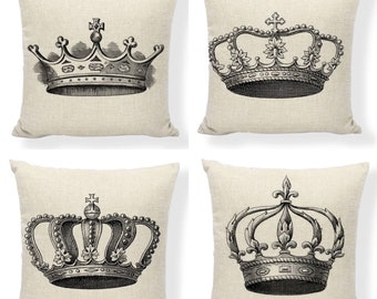 SALE! Crown Pillow Covers. Royal and Elegant