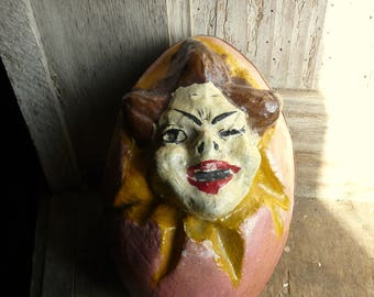 antique large papier mache easter egg candy container clown